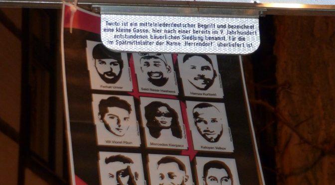 Straßenumbenennungen im Gedenken an die durch einen rassistischen Terroranschlag vor einem Jahr in Hanau ermordeten Menschen!