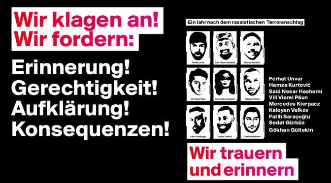 [UPDATE] Beteiligt euch an den Aktionen im Gedenken an die Ermordeten von Hanau!