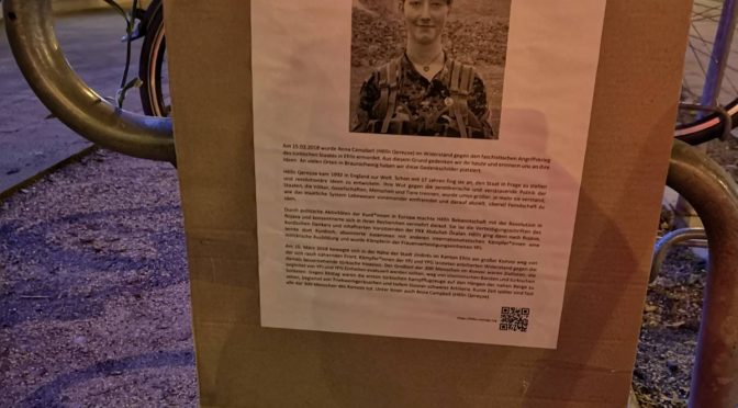 Gedenkaktion in Braunschweig für die am 15. März 2018 in Efrîn gefallene Anna Campbell
