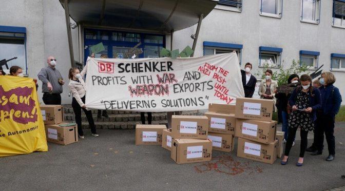 """Protest gegen DB Schenker in Hannover: """"Delivering Solutions"""""""