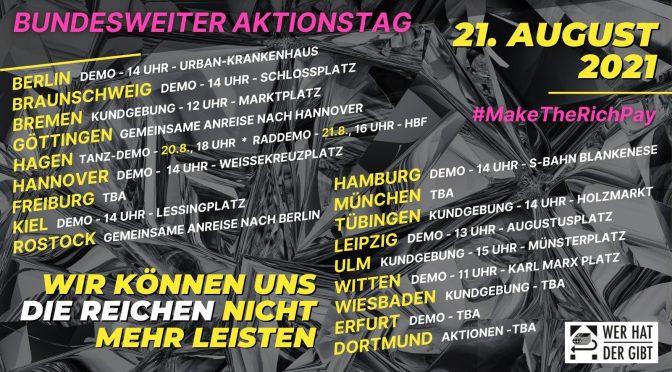 [UPDATE] Wie können uns die Reichen nicht mehr leisten: Demonstration am 21. August in Braunschweig!